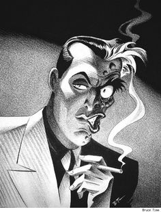 Two-face, in black-and-white.
