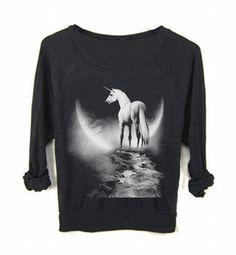 Womens Mystic UNICORN Print Boho Yoga Sweatshirt - FREEBIRD