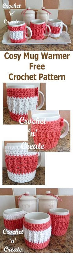 Cosy Mug Warmer Free Crochet Pattern - Crochet 'n' Create My note: Start Round 6 Crochet Coffee Cozy, Crochet Cozy, Crochet Gratis, Free Crochet, Coffee Cozy Pattern, Crochet Coaster, Mug Warmer, Crochet Kitchen, Crochet Accessories