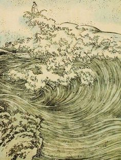 Japanese Waves, Japanese Prints, Japanese Painting, Chinese Painting, Chinese Art, Creation Art, Art Asiatique, Kuniyoshi, Art Japonais