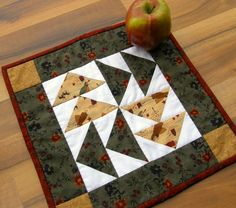 Quilted Table Topper or Candle Mat - Flying South in Moss and Tan - Hand Quilted. $28.00, via Etsy.