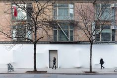 SO-IL wrapped Storefront for Art and Architecture NY in white textile. Photo by Iwan Baan.