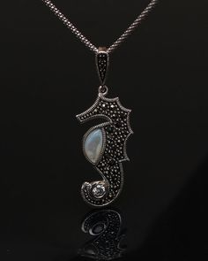 Silver Seahorse Marcasite Necklace  Seahorse by SilverLiningStr