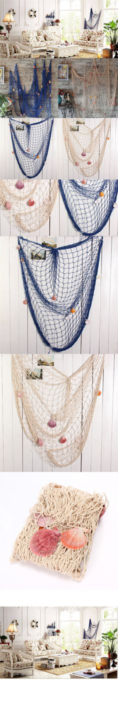 Beautiful Design Home Decoration Nautical Decorative 2M x 1M Fishing Net Seaside Beach Shell Party Door Wall Decoration $11.96