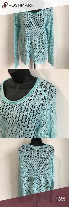 NWT Hollister szL aqua color open weave sweater NWT Hollister szL aqua color open weave sweater Hollister Sweaters