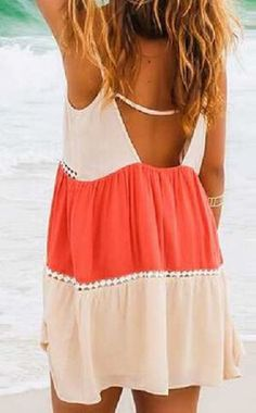 4ffa9651d4f Sweet and Sexy Orange and White Fashionable Scoop Neck Color Splicing  Backless Beach Dress  Sweet
