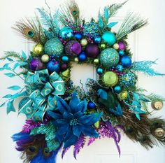 Christmas Peacock Wreath XXL | eBay