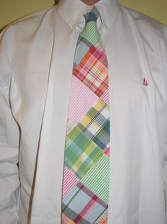 Preppy men's madras tie, heavy on the green and pink!