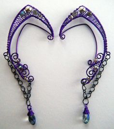 Violet Sprite  Elf/Fairy ear cuffs by WhimsicalMonkey on Etsy, $45.00 #Ear #Ears #Jewelry
