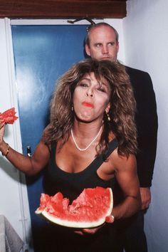 Tina Turner eating watermelon in Rio de Janeiro, 1988.