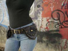 Chocolate  Double Ring Hip Belt Bag Utility Belt Bag Antiqued Brass OR Silver Hardware