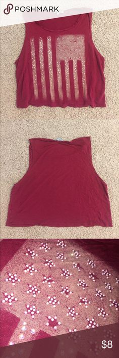 American Flag crop top super cute and in great condition Charlotte Russe Tops Crop Tops