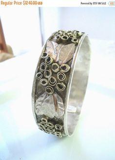 Holiday Sales Silver Gold Bangle Bracelet by rioritajewelry