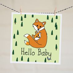 Hello Baby Fox Card | Relove SA