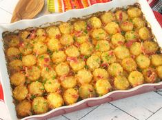 Tater Tot Casserole With Bacon #Casserole #family #approved #tater-tot #bacon #justapinchrecipes Diner Recipes, Rib Recipes, Great Recipes, Cooking Recipes, Favorite Recipes, Bacon Recipes, Potato Recipes, Easy Tater Tot Casserole