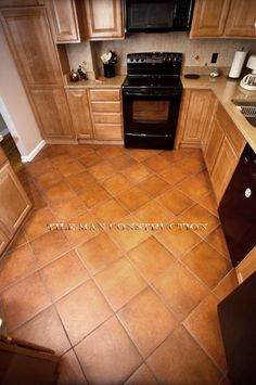 Terra cotta color tile in diamond pattern. Kitchen Dinning Room, Kitchen Redo, Kitchen Remodel, Kitchen Design, Floor Design, House Design, Home Living, Dream Decor, Creative Home