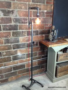 Floor lamp multiple edison bulb industrial style iron pipe this lamp is a truly unique lighting solution with many applications a rotating faucet handle serves as a switch to turn the light on and off aloadofball Image collections