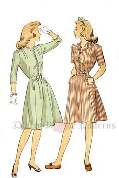 DuBarry 5838 Misses' Vintage 1940s Shirtwaist Dress Sewing Pattern by…