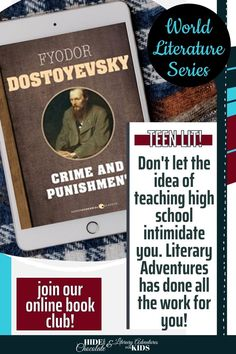 In this course, we'll read through the book by Fyodor Dostoyevsky. We'll go on rabbit trails of discovery into history, geography, art, and more, and find ways to learn by experiencing parts of the book through hands-on activities. Then, we'll have a party school to celebrate this story and its characters. This online literary guide has everything you need to study the book, including vocabulary, grammar, discussion questions, rabbit trails, and a writing project. Online Book Club, Books Online, Book Club Books, The Book, Teen World, World Literature, School Parties, Hands On Activities, Vocabulary