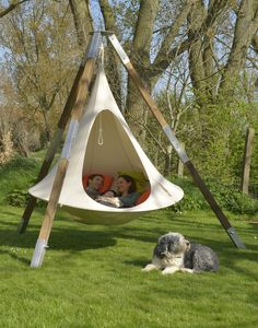 Cacoon Double hanging Chair tries Natural White
