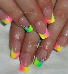 Imagen vía We Heart It #amazing #beautiful #color #fashion #french #manicure #nailart #nails #rainbow #style #sweet