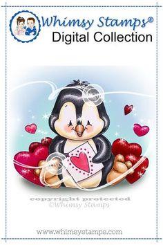 Penguin Valentine - Digital Stamp