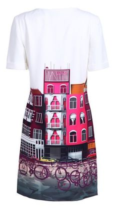 Buildings Bikes Print Silk Dress