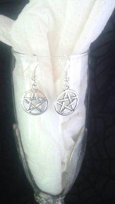 Tibetan Silver Pentagram Earrings by SpeakingofWitchWands on Etsy
