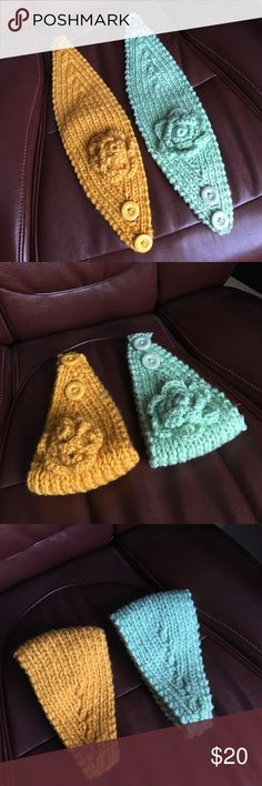 SET OF 2 knit flower headbands Brand new adorable knit flower headbands. Very warm and soft! Adjustable fit with 2 buttons. Mint, and Mustard 😊💗❄⛄ Accessories Hats
