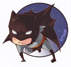 Batman chibi by XMenouX Batman Love, Batman Art, Batman And Superman, Fake Geek Girl, Batman Chibi, Nerd Art, Batman Family, Marvel Dc Comics, Cartoon Drawings