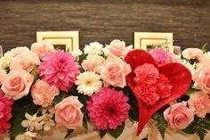 【ハートのモチーフ】を使用した会場装花