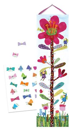 Hot Pink Flower Growth Chart by eeBoo - $16.95