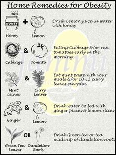 Home Remedies for Obesity..  These are only little tips to help you lose weight and get that healthy life and body you've always wanted. Try some of these and also a diet and lifestyle change can surely help.