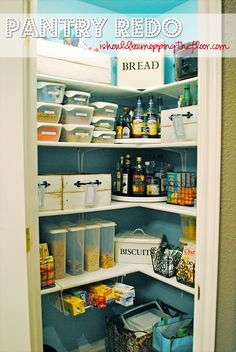 With a different color for the walls, this would be the perfect Steampunk pantry. Love the Lazy Susans in the corners to give easy access to items, hot glue some metallic ribbon around the edges of those for extra Steampunk style.