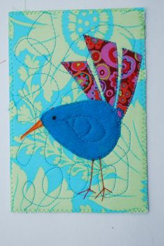 Turquoise bird quilted postcard Bird Quilts, Bird Postcard, Turquois Bird, Quilt Postcard