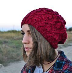 FREE SHIPPING  beanie hat knit womens por PetiteIdasCreations