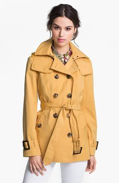 London Fog Short Trench Coat with Detachable Hood (Petite) available at #Nordstrom
