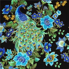 black designer fabric with peacock and flowers from the USA 1