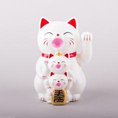 Glückskatze FAMILIE Weiß 11cm Maneki Neko Winkekatze Glücksbringer Katze China   eBay