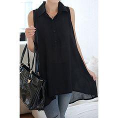 Solid Color Sleeveless Turn Down Collar Wide Hem Women's Blouse, BLACK, 2XL in Blouses   DressLily.com