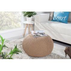 Pouf design boule 50cm en laine coloris café Pouf Design, Outdoor Furniture, Outdoor Decor, Multifunctional, Glasgow, Bean Bag Chair, Ottoman, Vogue, Chairs