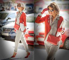 каблуки Galant-Girl Ellena - Céline Bag, J. Crew Cashmere Hoodie - Red in my wardrobe всегда было много! Work Fashion, Fashion Looks, Fashion Outfits, Womens Fashion, Classy Outfits, Pretty Outfits, Fall Winter Outfits, Autumn Winter Fashion, Color Blocking Outfits