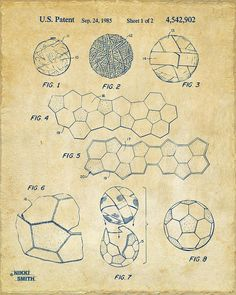 Soccer Drawing - Soccer Ball Construction Artwork - Vintage by Nikki Marie Smith