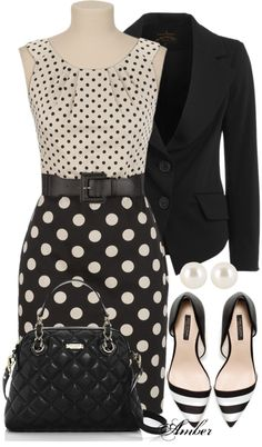 black  white polka dots - the striped shoes make it!