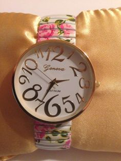 New Geneva Gold & FLOWERS White EASY TO READ Stretch Band Watch #Geneva #Fashion