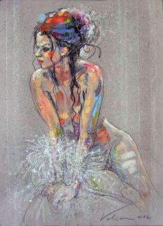 LA MARIEE (Peinture),  50 cm par Raluca Vulcan