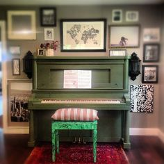 A Thousand Laughing Starfish: Our Painted Piano and DIY Malachite Bench.(by Heidi Chamoun) what an inspiration. I love when I can pin things from people I actually know.