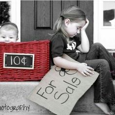 "Such a cute idea for sibling photos. Even better with the twins. We could write ""buy one get one free""."
