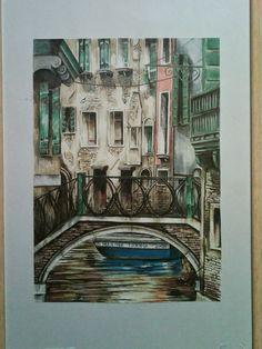 Rosângela Vig Arte com lápis e em telas : Ponte do Suspiro em Veneza Colorida, Itália, lápis...