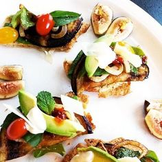 open faced sandwich bites: roasted eggplant, avocado, spinach, grape ...